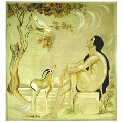 """Original Emile Aubry Art Deco Painting """"La Voix De Pan"""", Groupe Symbolique,"""