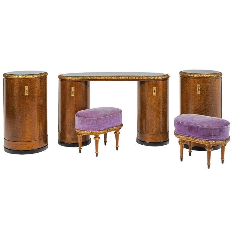 Original Art Deco Vanity Set/Ensemble, 1930-1940, European Bird's-Eye Maple  For Sale