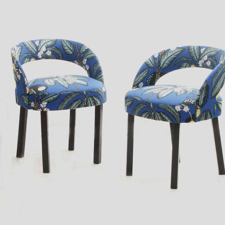 Mid-20th Century Two Josef Hoffmann/Oswald Haerdtl Chairs Early Art Deco, New Fabric -Josef Frank For Sale