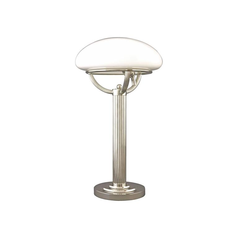 Table light with opaline glass shade, designed for Villa Steiner Several finishes are available All components according to the UL regulations, with an additional charge we will UL-list and label our fixtures.
