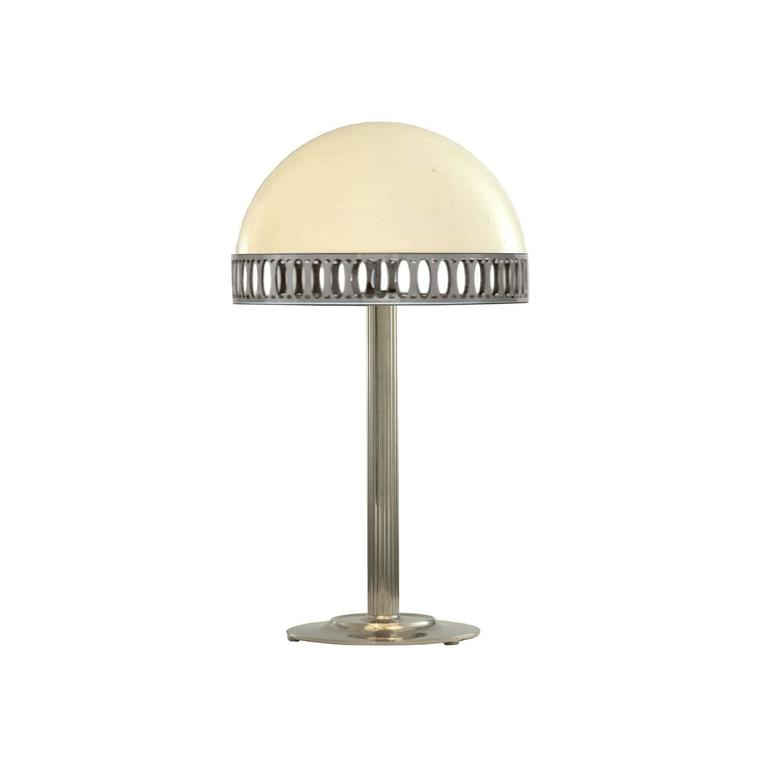 Table light with opaline glass shade, designed for Villa Steiner, pictured in nickel.  Brass, optionally varnished or nickel-plated, all other surfaces on request, opaline-glass, handblown.  Now manufactured at the WOKA workshop in Vienna.