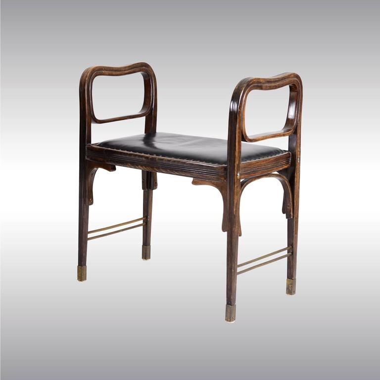 Extremely rare and very modern furniture from 1900 designed by Otto Wagner, a pair of stools which can be bought separately as well. Modell 412. Literature: Das Interieur IV 1903 p 76 für