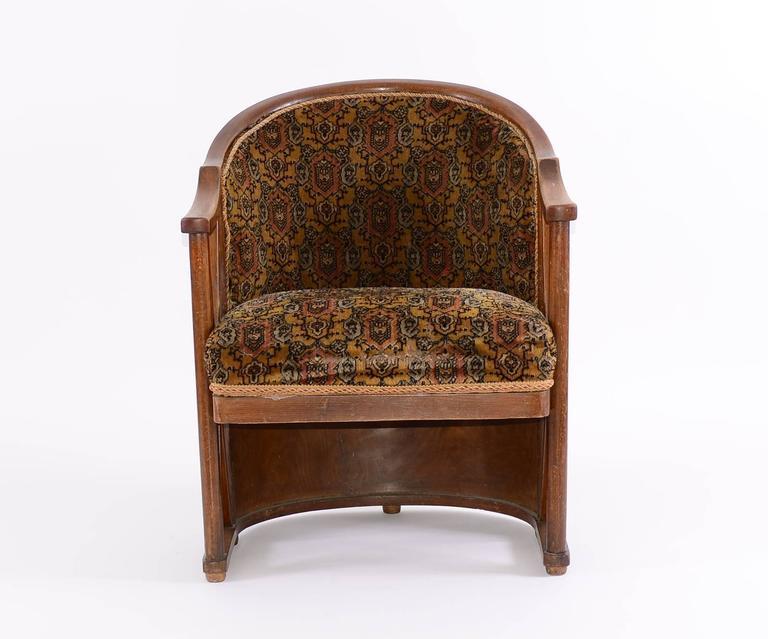 Stained Josef Hoffmann 1908 Barrel-chair, Original, Kohn, Jugendstil, early 20th century For Sale