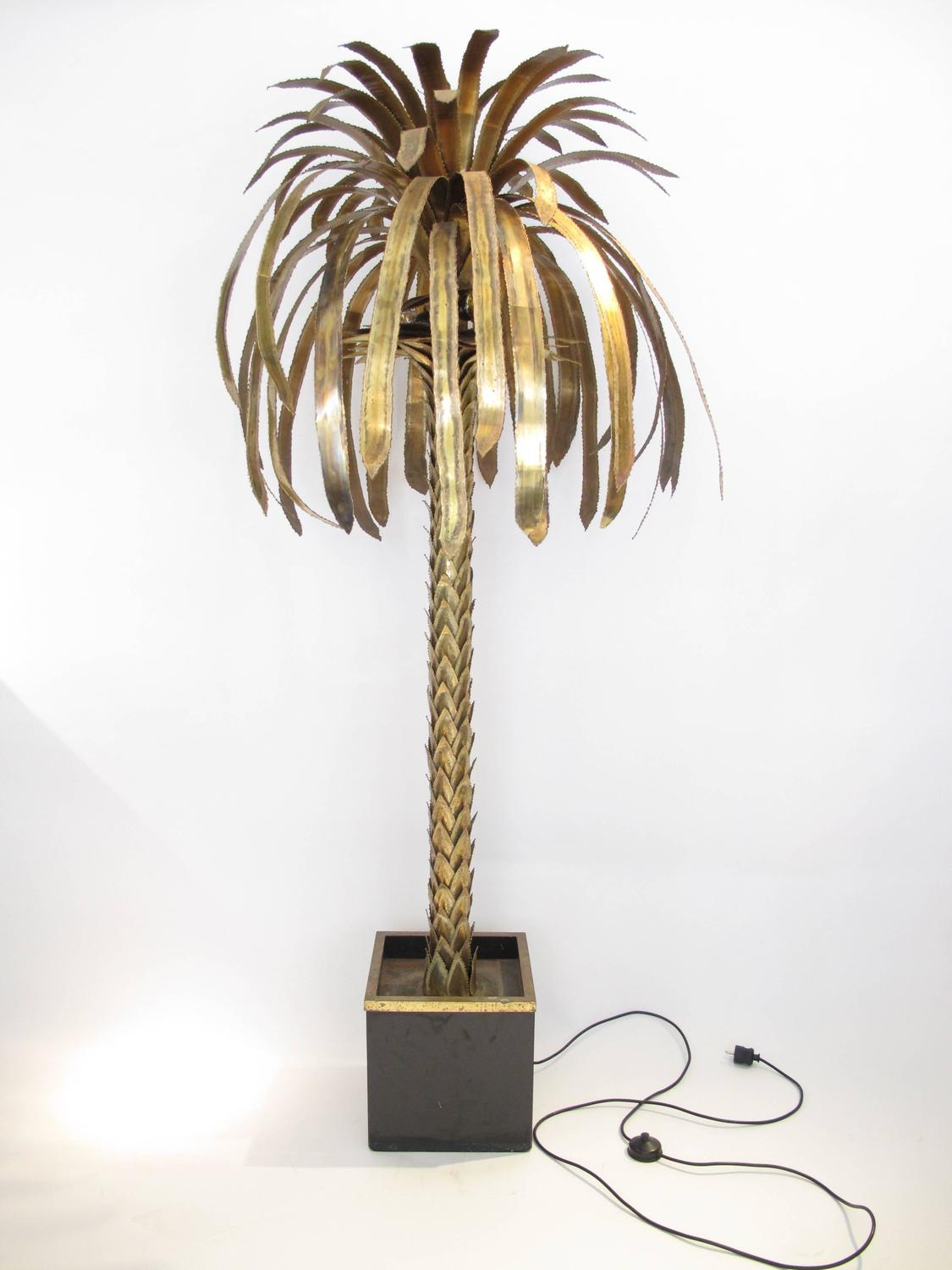 Large maison jansen palm tree lamp for sale at 1stdibs for Large tree floor lamp