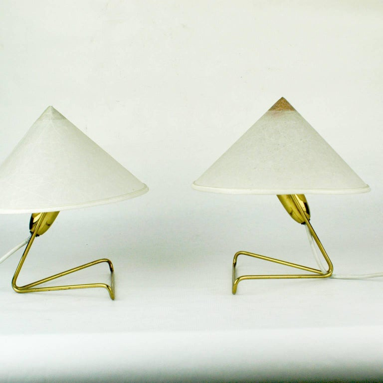 Pair of Austrian Midcentury Brass Wall or Table Lamps by Rupert Nikoll In Excellent Condition For Sale In Vienna, AT
