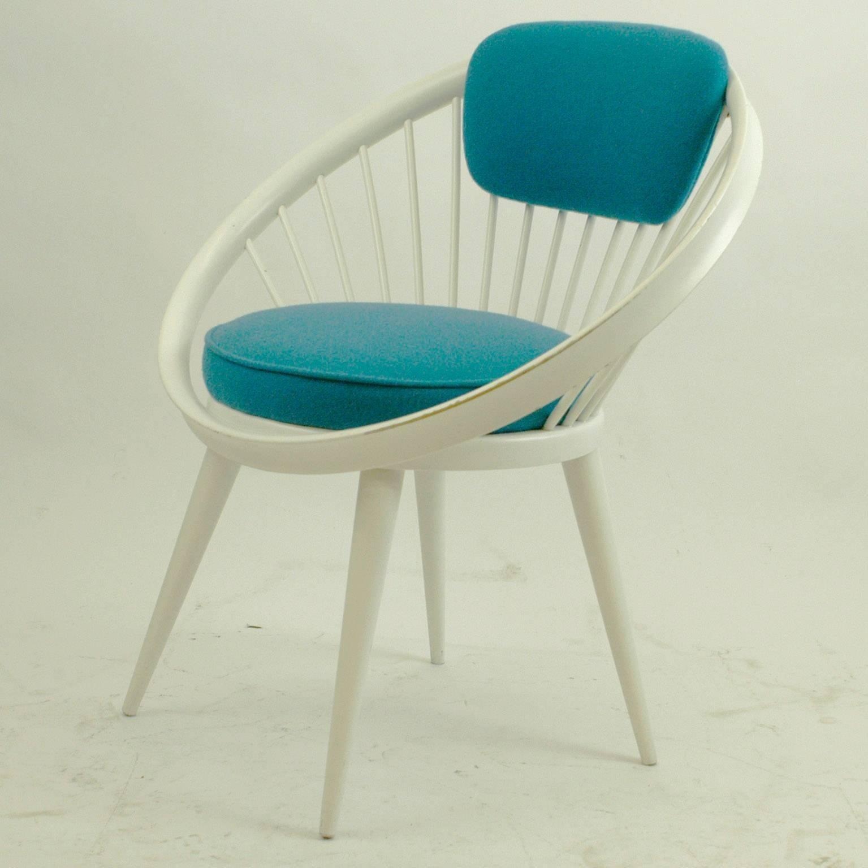 Swedish White And Blue Scandinavian Modern Circle Chair By Yngve Ekström  For Sale