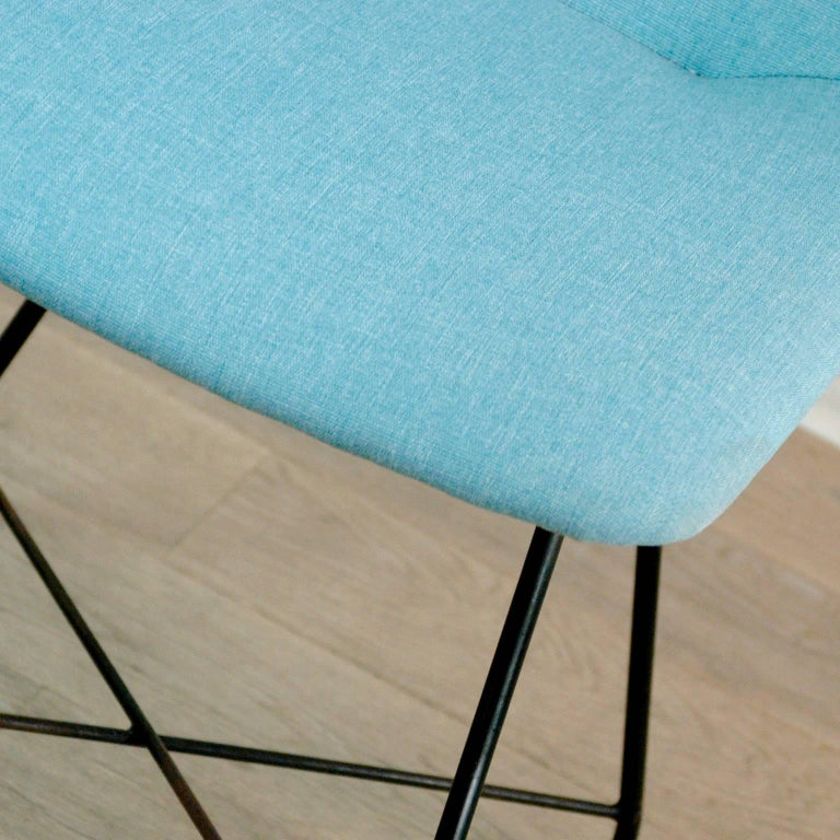 Aster Esszimmertisch in Hellblau aus Eisen und Messing von Augusto Bozzi für Saporiti 2