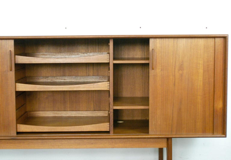 Danish Scandinavian Modern Teak Tambour Door Credenza by Arne Vodder for Sibast For Sale