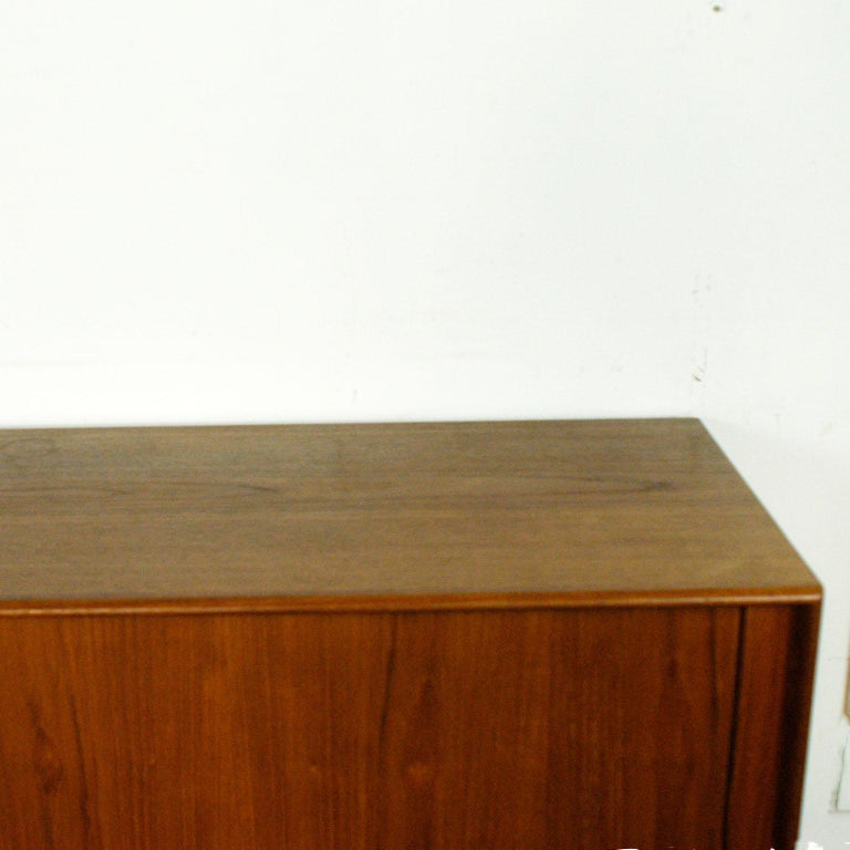 Scandinavian Modern Teak Tambour Door Credenza by Arne Vodder for Sibast For Sale 1