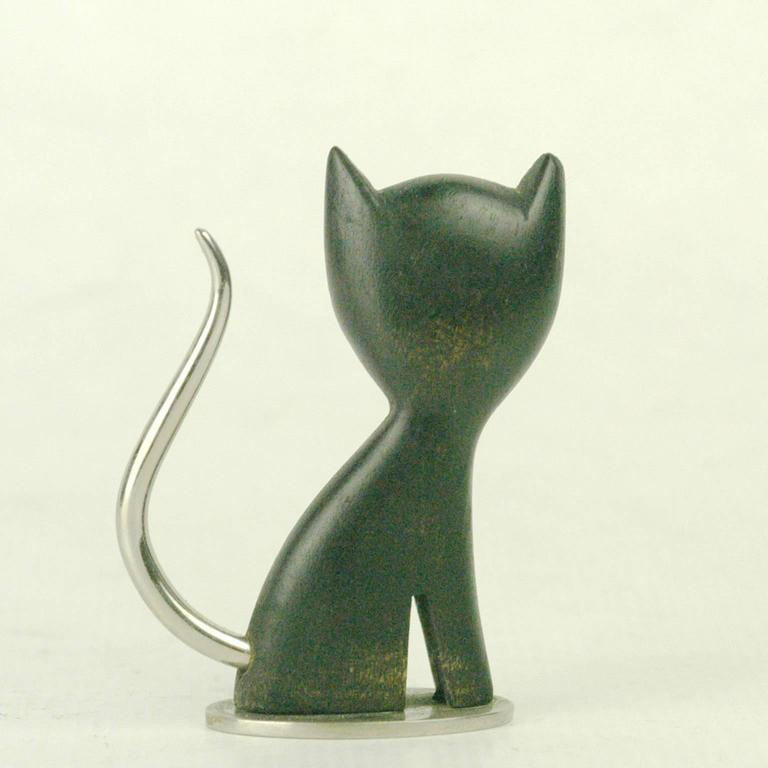 Amazing Hagenauer carved wood cat with nickel-plated details.