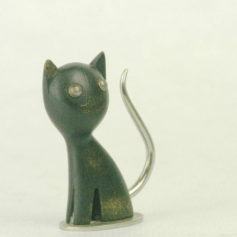 Mid-Century Modern Small Austrian Midcentury Wood Cat by Karl Hagenauer For Sale