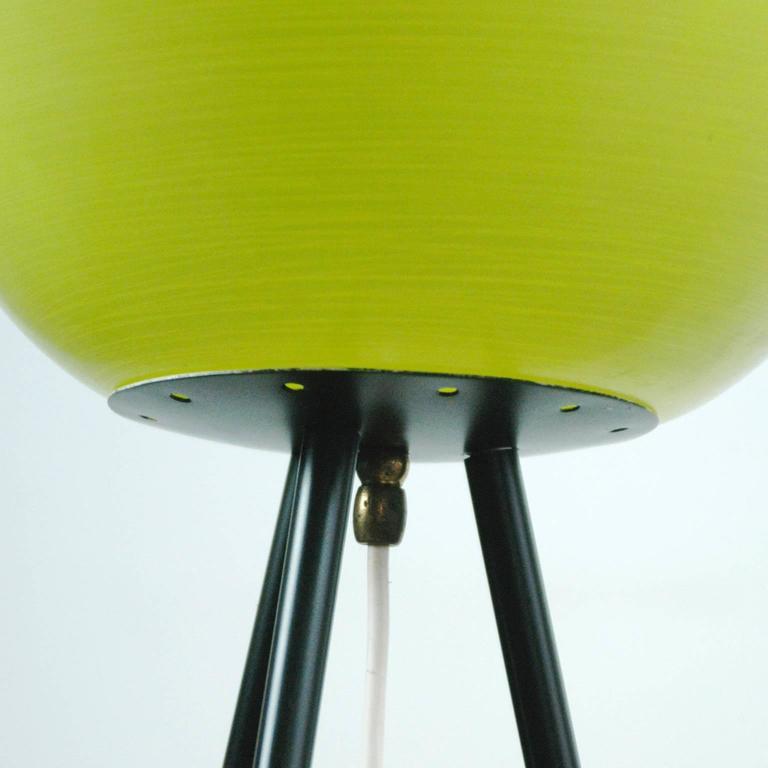 Blackened Italian Midcentury Iron, Brass and Yellow Glass Tripod Floorlamp by Stilnovo For Sale