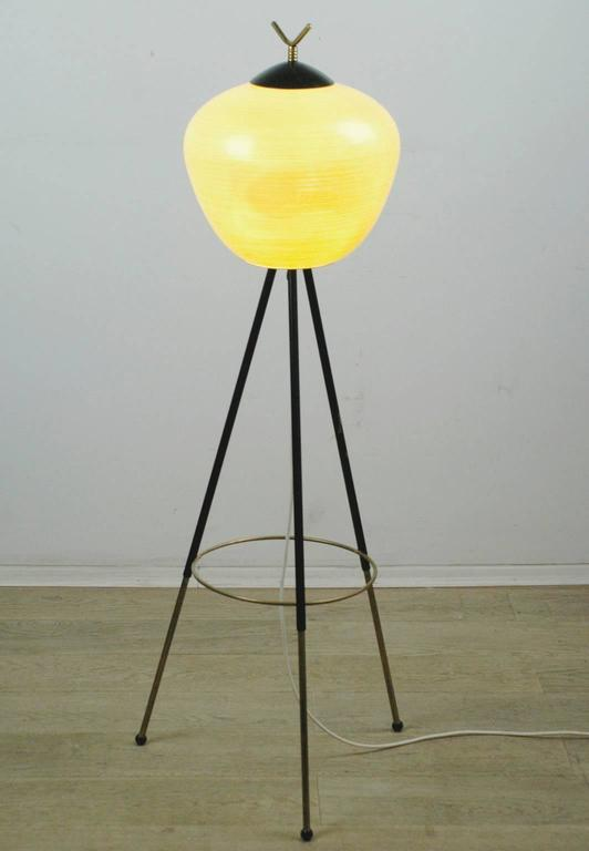 Mid-20th Century Italian Midcentury Iron, Brass and Yellow Glass Tripod Floorlamp by Stilnovo For Sale