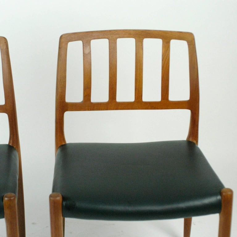 Late 20th Century Pair of Two Scandinavian Modern Niels Otto Möller Teak Dining Chairs Mod. 83 For Sale