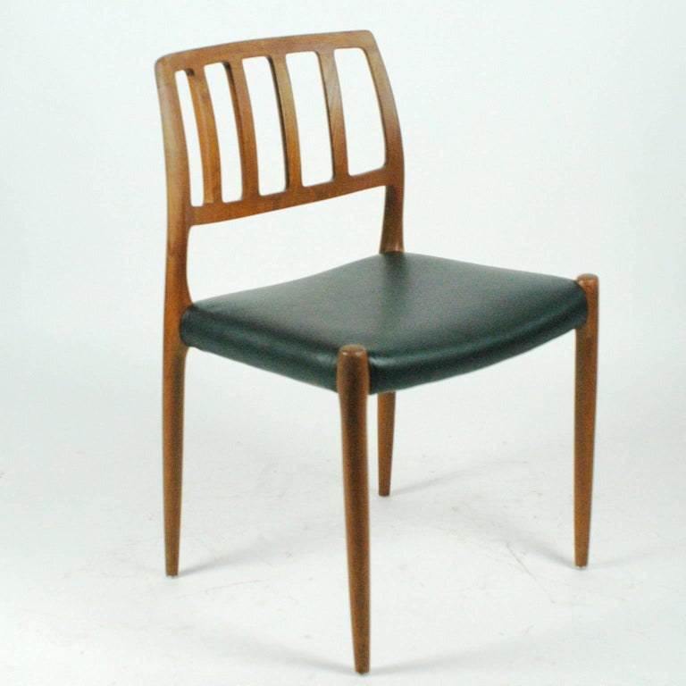 Leather Pair of Two Scandinavian Modern Niels Otto Möller Teak Dining Chairs Mod. 83