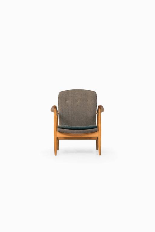 Scandinavian Modern Rare Easy Chair Designed by Finn Juhl and Produced by Bovirke in Denmark For Sale