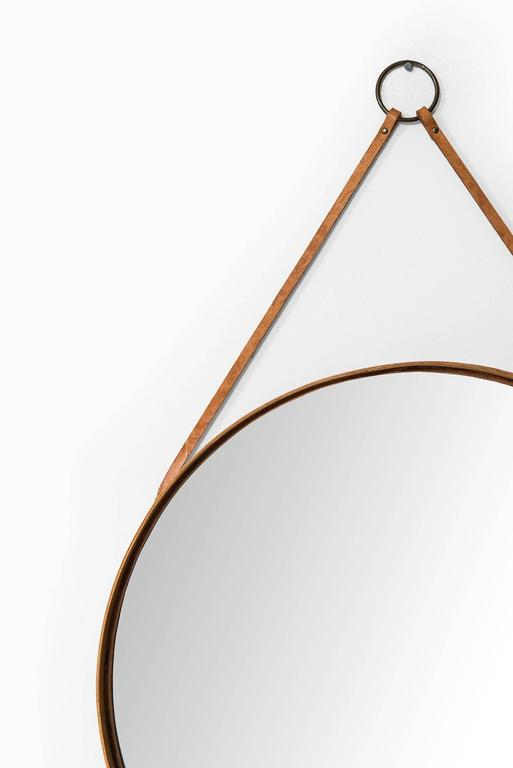 Round Mirror In Oak With Brown Leather Produced By Glas Mäster In Sweden For Sale At 1stdibs