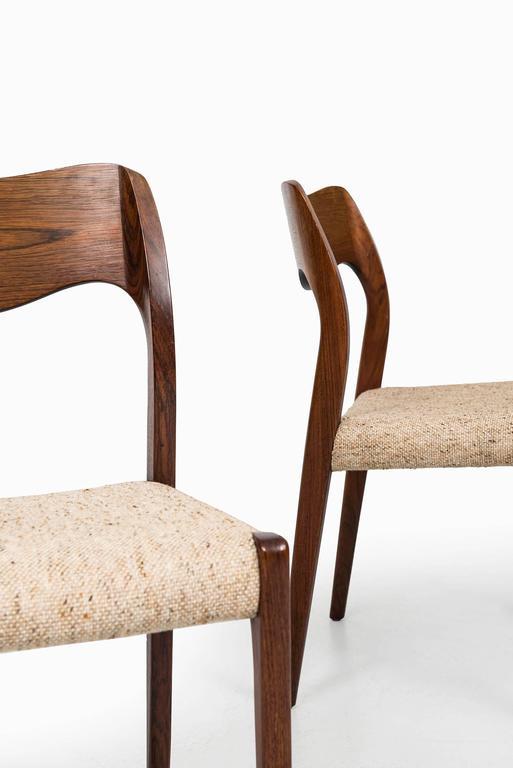 Fabric Niels O. Møller Dining Chairs Model 71 by J.L Møllers Møbelfabrik in Denmark
