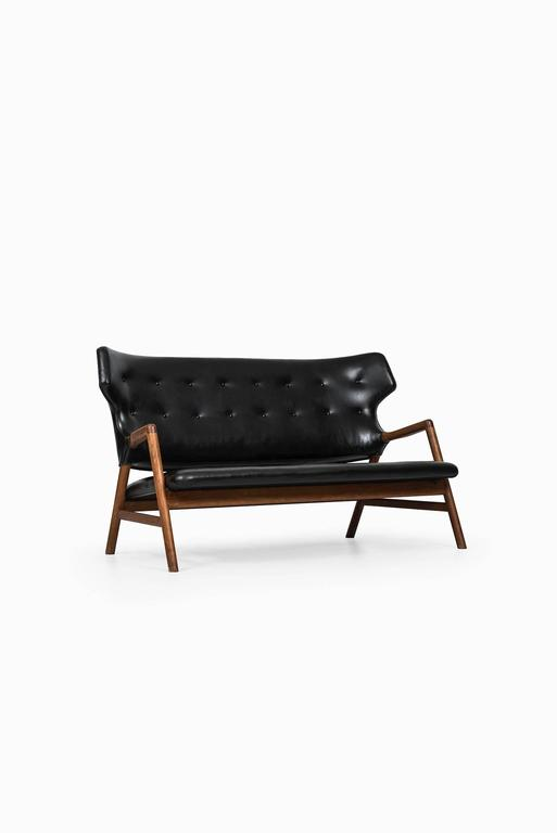 Very rare sofa designed by Magnus Stephensen. Produced by A.J. Iversen in Denmark.