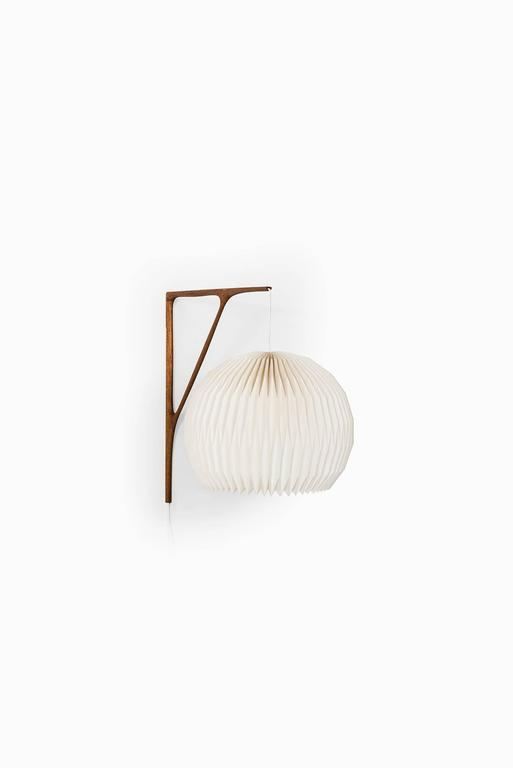 Sculptural Wall Lamp in Teak with Lamp Shade by Le Klint ...