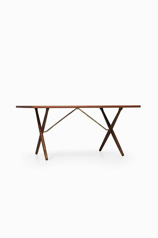 Brass Hans Wegner Dining Table/Desk Model At-303 by Andreas Tuck in Denmark For Sale