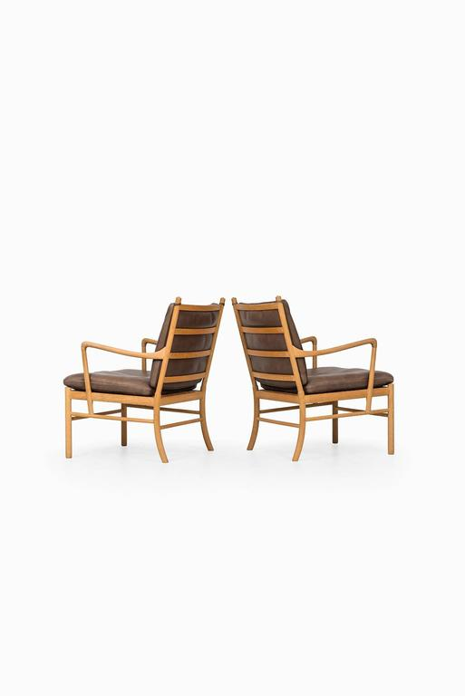 Ole Wanscher Colonial Easy Chairs by P.J. Furniture in Denmark For Sale 1