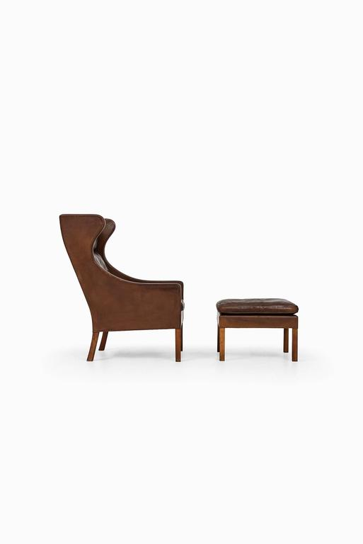 Børge Mogensen Wingback Chair Model 2204 with Stool Model 2202 2