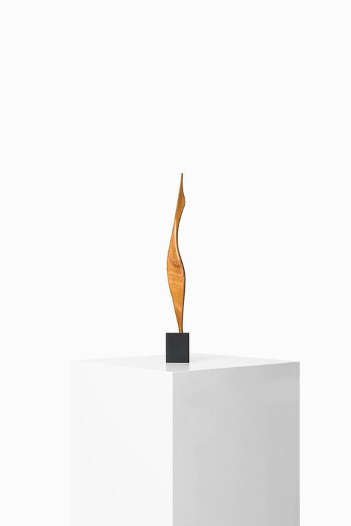 Scandinavian Modern Wooden Sculpture on Black Base For Sale