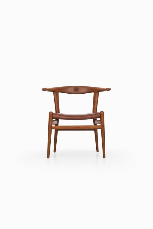 Rare bull horn armchair model JH518 designed by Hans Wegner. Produced by Johannes Hansen in Denmark.