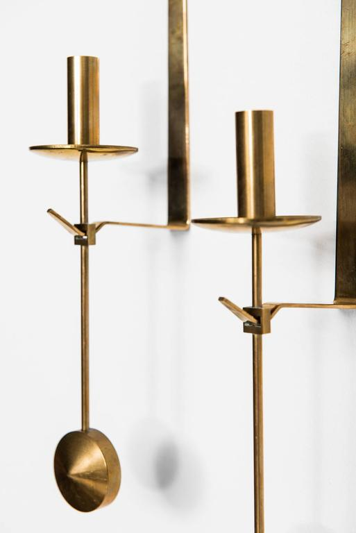 Pierre Forsell Wall Hanged Candlesticks by Skultuna in Sweden In Excellent Condition For Sale In Malmo, SE