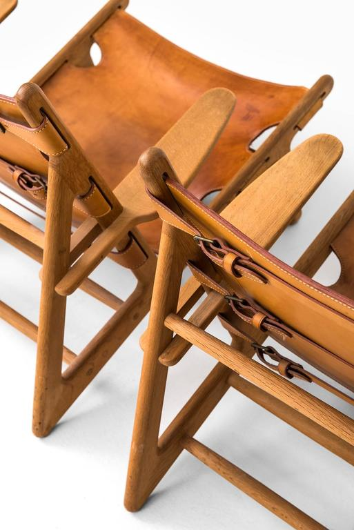 Scandinavian Modern Børge Mogensen Hunting Easy Chairs by Fredericia Stolefabrik in Denmark For Sale