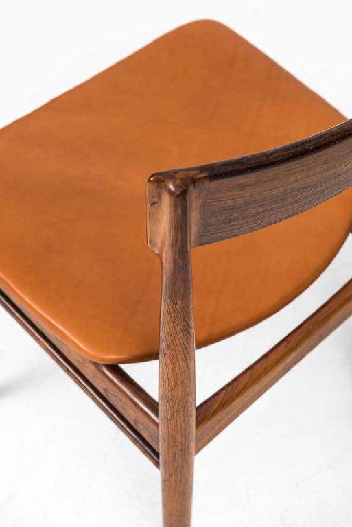 Leather Henry Rosengren Hansen Dining Chairs Model 39 by Brande Møbelfabrik in Denmark For Sale