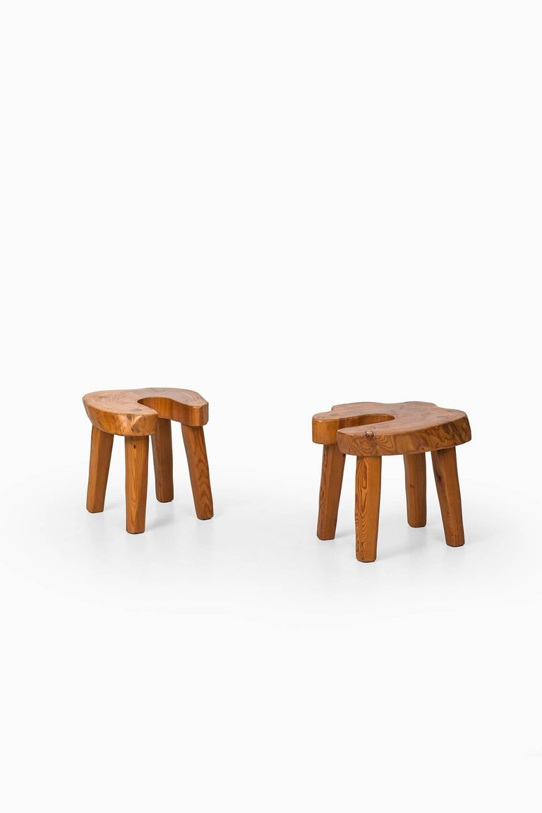 Set Of Eight Brutalist Stools In Solid Pine Produced In