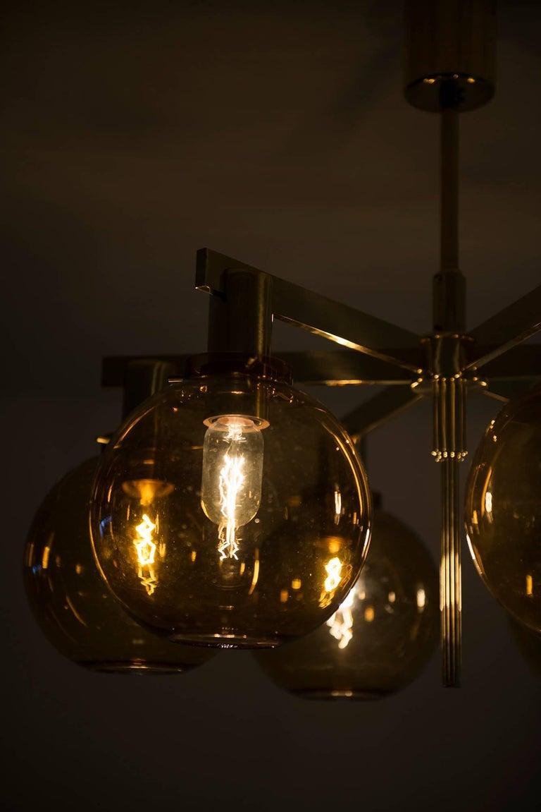 Brass Hans-Agne Jakobsson Ceiling Lamp Model T-348/6 by Hans-Agne Jakobsson AB For Sale