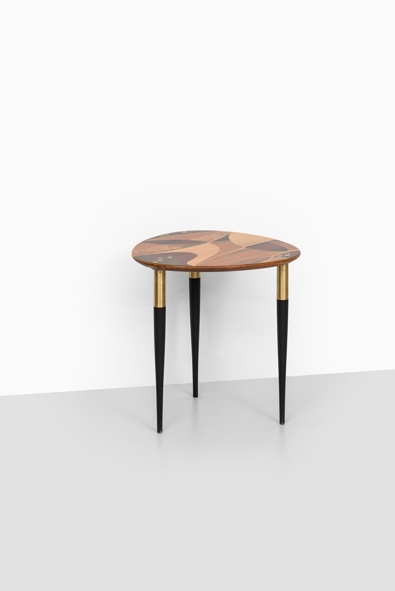 Rare side table with beautiful intarsia produced by bodafors in sweden at 1stdibs