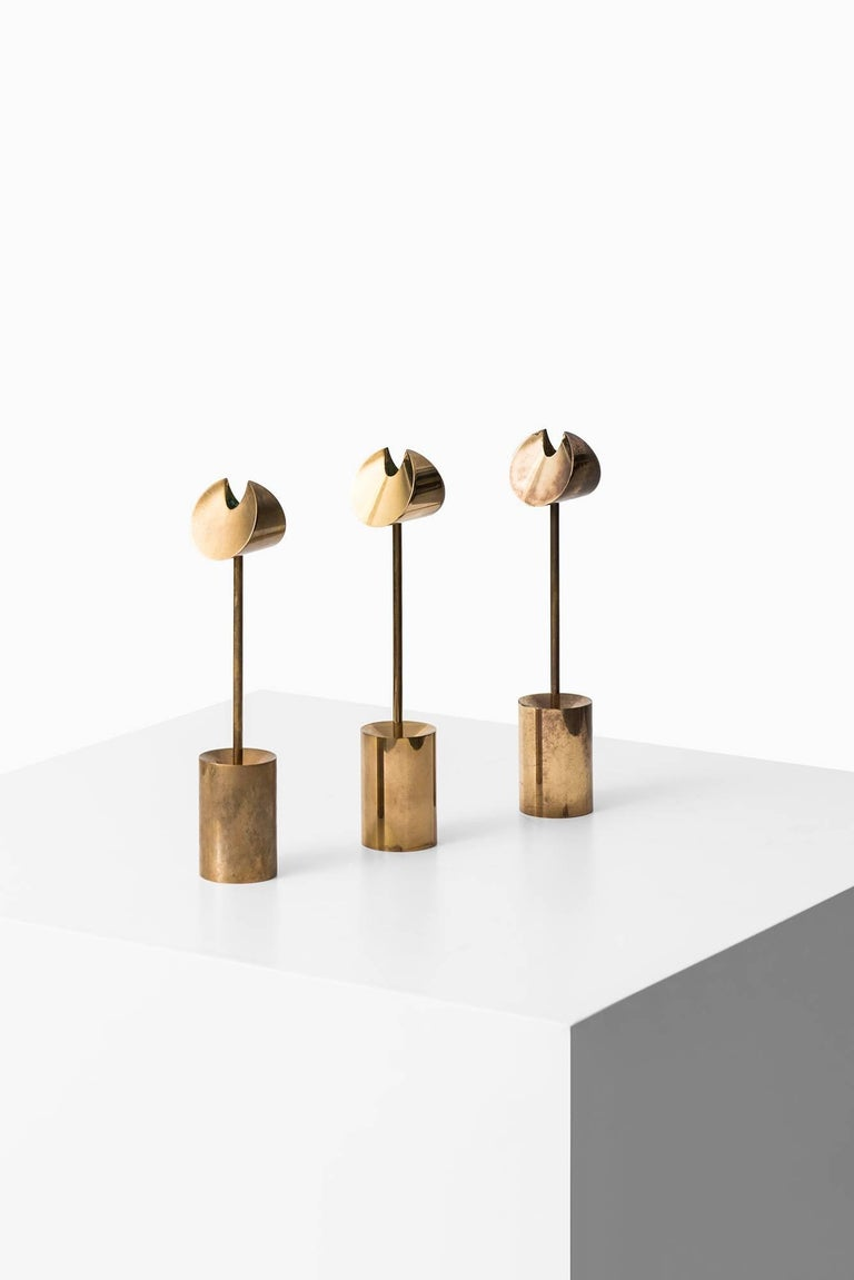 Candlesticks in brass designed by Pierre Forsell. Produced by Skultuna in Sweden.