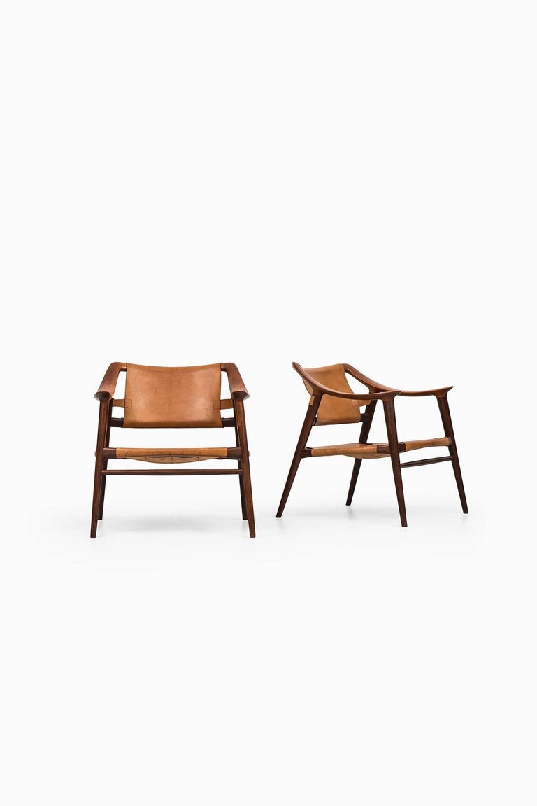Very rare pair of easy chairs model 56/2 'Bambi' designed by Rolf Rastad & Adolf Relling. Produced by Gustav Bahus in Norway.