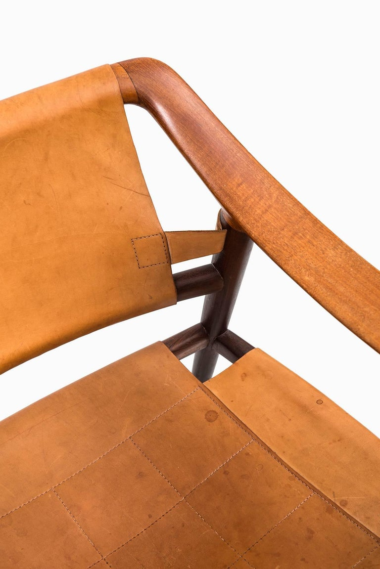 Leather Rolf Rastad & Adolf Relling Bambi Easy Chairs by Gustav Bahus in Norway For Sale