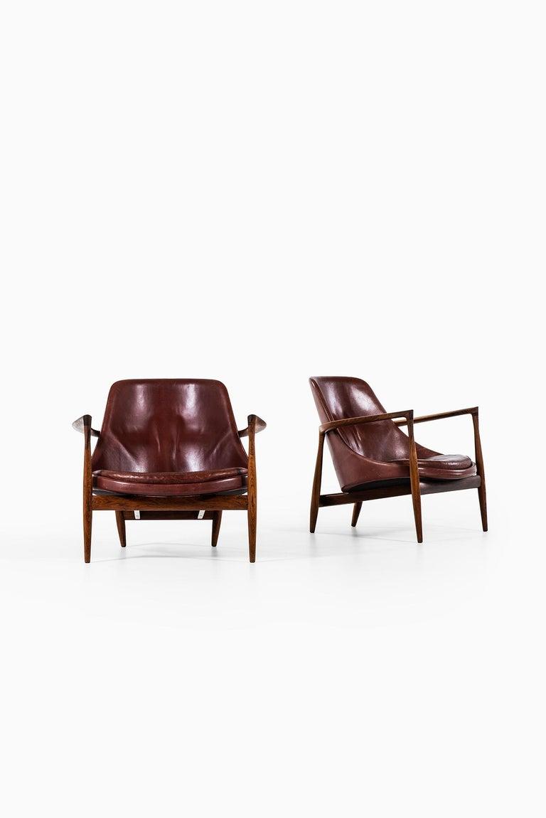 Leather Ib Kofod-Larsen Elizabeth Easy Chairs by Christensen & Larsen in Denmark For Sale
