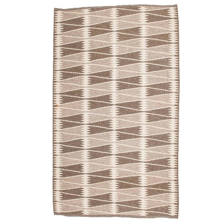 Mid-Century Swedish Carpet with Geometric Pattern