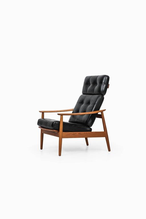 Leather Arne Vodder Reclining Chair Model FD-164 by Cado in Denmark For Sale