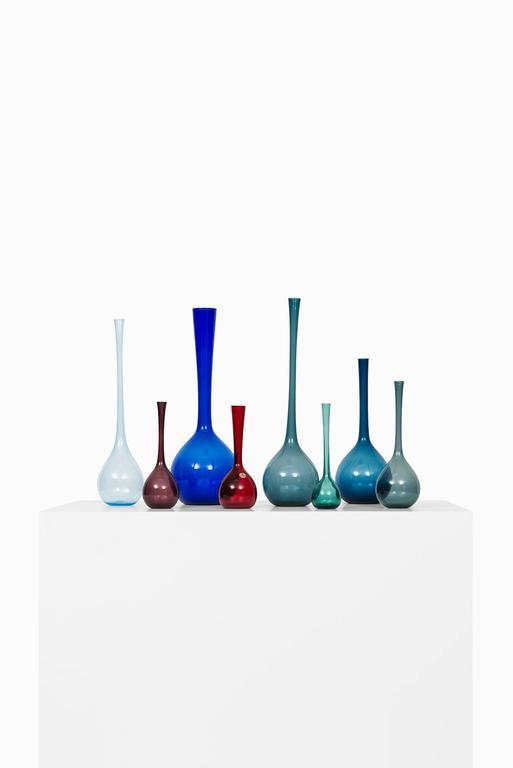 Scandinavian Modern Arthur Percy Glass Vases by Gullaskruf in Sweden For Sale