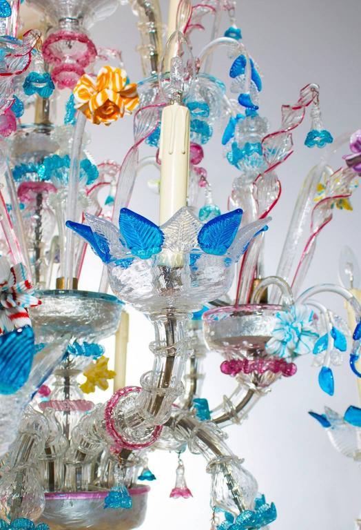 Mid-20th Century Italian Venetian, Ca' Rezzonico Chandelier, blown Murano Glass, Galliano Ferro For Sale