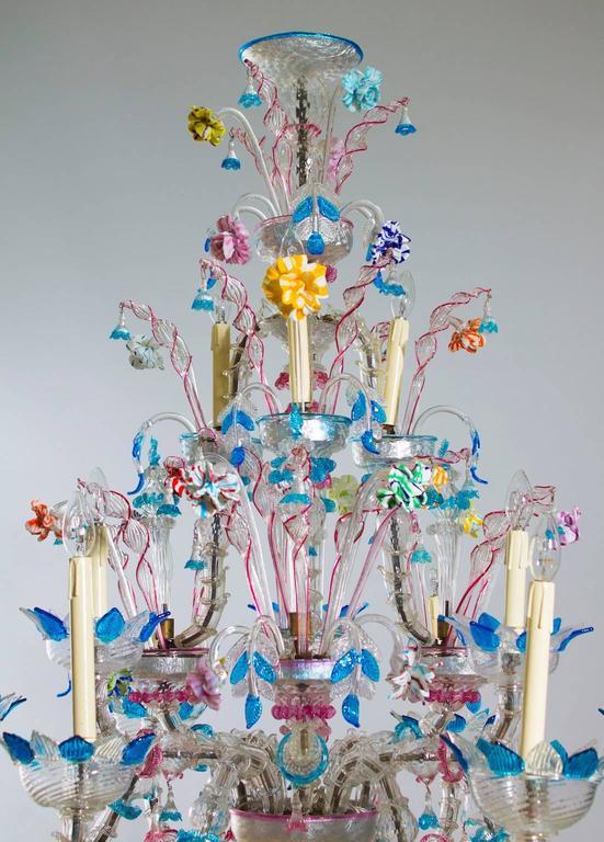 Italian Venetian, Ca' Rezzonico Chandelier, blown Murano Glass, Galliano Ferro In Excellent Condition For Sale In Villaverla, IT
