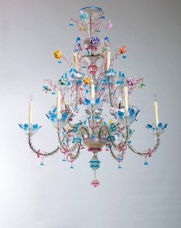Baroque Italian Venetian, Ca' Rezzonico Chandelier, blown Murano Glass, Galliano Ferro For Sale