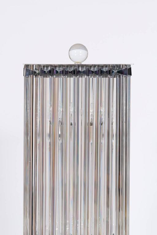 Hand-Crafted  Floor Lamp in blown Murano Glass clear color triedros 1990s Italy For Sale