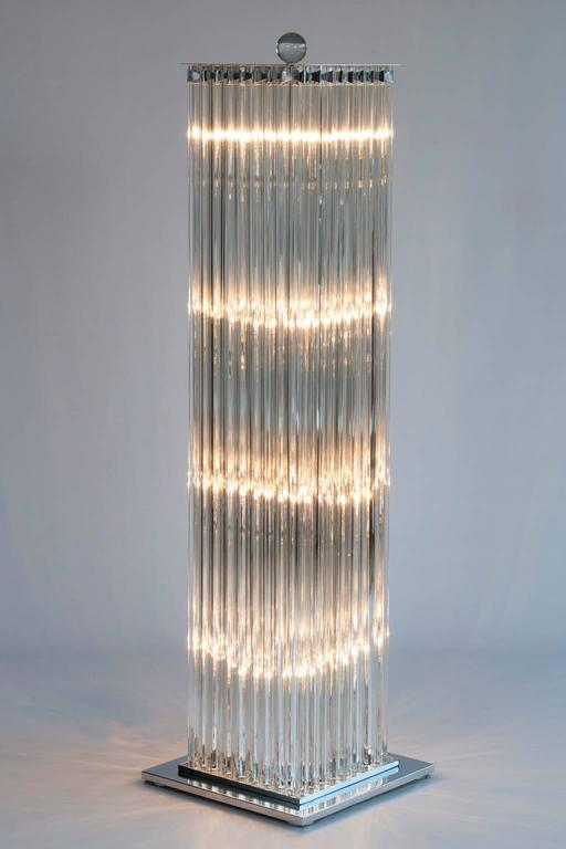 Floor Lamp in blown Murano Glass clear color triedros 1990s Italy For Sale 3