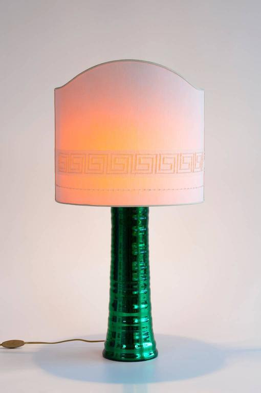 Hand-Crafted Italian Venetian, Table Lamp, Blown Murano Glass, Green & Mirror Effect, 1980s For Sale
