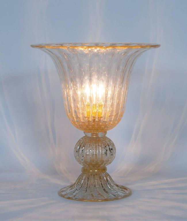 Italian Murano Glass Table Lamp, Attributed to Barovier & Toso, circa 1970s 7