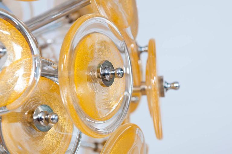 Italian Venetian Flush Mount Blown Murano Glass, Gold 24-K, Mazzega, 20th In Excellent Condition For Sale In Villaverla, IT